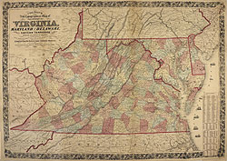 Colton's New Topographical Map of the State of Virginia